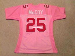 Descuento camisetas de fútbol de color rosa Costume cosido a medida cosida cosida Mens # 25 LeSean McCoy rosa jersey de retroceso jerseys de fútbol de los hombres