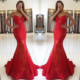 Red Spaghetti Straps Mermaid Prom Dresses Sweetheart See Through Skirts Evening Dresses With Lace Appliques robes de bal 2017 Fall
