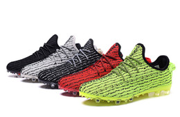 Wholesale 2017 Adidas Yeezy Online Soccer Cleats Mens Soccer Shoes Fashion Kanye West Discount Grey Green Red Low Football Boots FG Trainers