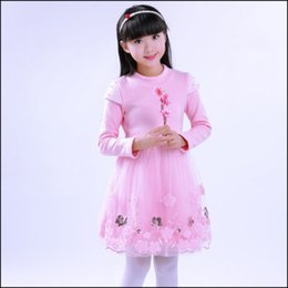 Faldas para las muchachas de los niños en Línea-El oro embroma el vestido del bordado de las niñas del bebé que embroma la falda de la gasa del vestido de la princesa del espesamiento con el vestido de bola del collar de las lanas o la ropa de los niños del partido