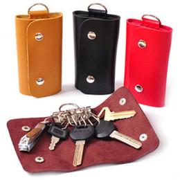 Carteras con cadenas en Línea-Soft PU de cuero Llavero cadena de accesorios bolsa de la cartera de la caja Keyring titular Keyfob