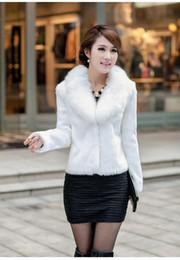 2017 Winter Warm Women's Faux Rabbit Fur Coat Fox Fur Collar Short Design Faux Fur Coat Jackets Full Sleeve Outwear