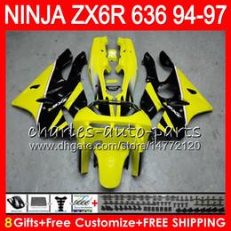 8Gifts 23Colors For KAWASAKI NINJA ZX636 ZX6R 94 95 96 97 ZX-6R ZX-636 Yellow black 33HM3 600CC ZX 636 ZX 6R 1994 1995 1996 1997 Fairing kit