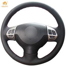 Mewant Black Genuine Leather Car Steering Wheel Cover for Mitsubishi Lancer EX10 Lancer X Outlander ASX Colt Pajero Sport