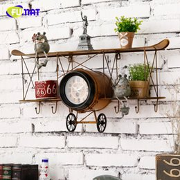 Wholesale Vintage Aircraft Wall Clock with Shelf Loft Bar Living Room Restaurant Decorate Novelty Item Kids Room Wall Rack Clock