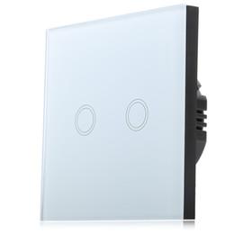 2016 единая панель Оптово-Smart Touch Switch 2 Gang Single Way Интеллектуальный контроллер Кристалл закаленное стекло панели с беспроводным пультом дистанционного управления единая панель на продажу