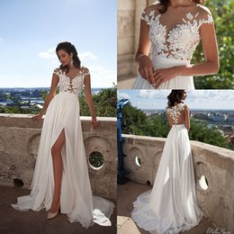2019 Cheap Beach A-Line Chiffon Wedding Dresses Sexy See-through Sheer Neck Lace Appliques Cap Sleeves Side Split Bridal Gowns Custom Made