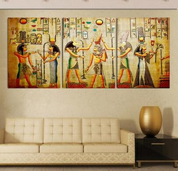 triple abstract no frame picture Egyptian mural Room Escape Modern decorative painting a large art wall art print