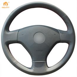Mewant Black Genuine Leather Car Steering Wheel Cover for Volkswagen VW Jetta 5 2006 2007 2008 2009 2010