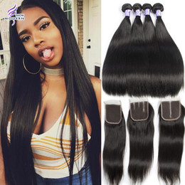 Brazilian Straight Virgin Hair 4 Bundles with Closure Brazilian Human Hair Weave Bundles with Closure Straight Peruvian Hair Extensions