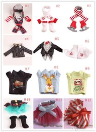 Wholesale Cristmas Shelf Winter Set Boots Tartan Skirt Boots Satin Tiered Skirt Elf Clothes Doll Accessories