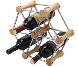2017 des tubes métalliques creux 48 ensembles bricolage Barre de hêtre + acier inoxydable tube creux système de vin de vin, métal + bois titulaire de vin rouge pour 6 bouteilles DHL Livraison gratuite 161229 # promotion des tubes métalliques creux