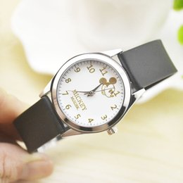 High Quality New Geneva Women's watches Quartz Mickey Faux Leather Analog Wrist Men'sWatch Lover s Watch