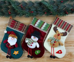 Wholesale Christmas Stockings Decorations Santa Snowman Deer Stocking Xmas Home Decorations Asst cm Hight Best Gifts for Christmas