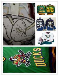 Descuento camiseta para correr verde Anaheim 96 Charlie Conway Mighty Ducks Película Hockey Running Jerseys Baratos Blanco Verde Blanco 1993-94 Away Trikot Camisas Bueno