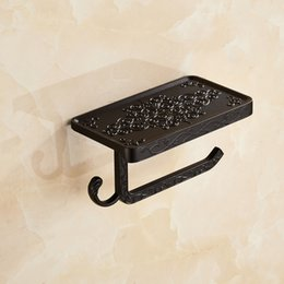 Cell Phone Towel Rack Toilet Creative Nordic Toilet Scroller Wall Mount Bathroom Shelf Space Aluminum Black