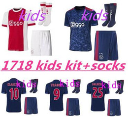 Thai quality 2017 2018 Ajax FC kids kits+socks soccer jersey 17 18 KLAASSEN FISCHEA BAZOER MILIK uniforms shirt baby Ajax FC Football jersey