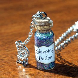 12pcs Sleeping Potion Necklace with Spinning Wheel Charm Sleeping Beauty Evil Fairy Maleficent, Good Fairy Merryweather