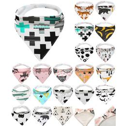 Wholesale 19 Patterns INS Baby Bibs Infant Cotton Triangle Burp Cloths fox Saliva Kerchiefs Baby Bandana Feeding Drop Shipping