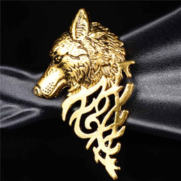 2017 bijoux directs d'usine Vente en gros- SHUANGR Factory Direct Hommes Insectes classiques Wolf Totem Broche Vintage Broche Broche Broches Hijab Pins Pour Femmes Bijoux budget bijoux directs d'usine