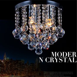 Wholesale Small Led Ceiling Light Fixtures - Crystal Chandelier Mini Light Fixture Small Clear Crystal Lustre Lamp K9 Ceiling lamp for Aisle Stair Hallway corridor porch light