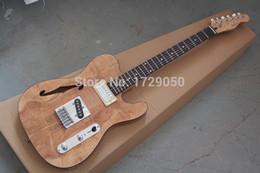 Promotion trous bois Chine costume guitare personnalisé 2015 nouveau Nouveau corps solide Couleur naturelle Maple Wood top Semi Hollow F Hole Jazz TL guitare électrique 1221