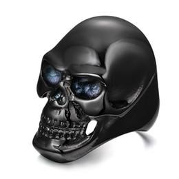 Men's Vintage Gothic Skull Bone Biker Stainless Steel Ring Band Black Flower Gothic Biker Classic Punk band ring