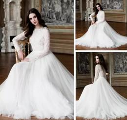 African Lace Long Sleeve Muslim Wedding Dresses Elegant High Neck A Line Bridal Dresses Sweep Train Wedding Gowns Custom Vestidos de novia