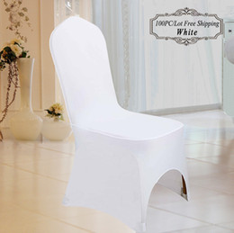 100PC Wedding Chair Covers Polyester Universal White Lycra Elastic Chair Seat Cover for Wedding Hotel Ceremony Outdoor Party Chair Covering