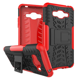 Wholesale For Galaxy J2 prime Grand prime G532 J1 ACE A5 Dazzle Tire Hybrid Case Kickstand Shoockproof Armor Layer Dual Rugged Hard PC TPU Skin