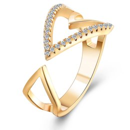 Fashion Design Gold Color Arrow Engagement Party Ring CZ Jewelry Wedding Rings for Women Crystal Rings female anel bijoux