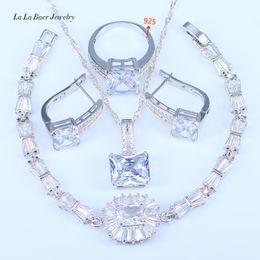 DuBai Style Square Austrian Blue Crystal White Zirconia 925 Stamp Silver Color Jewelry Sets For Women Pretty Bracelets