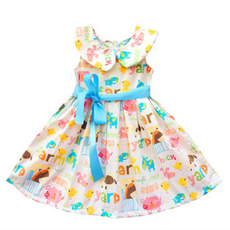 New Spring cotton for girls 2 - 10 years free cute beige sleeveless princess dress fashion girl summer dress 2017