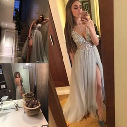 Sexy Deep V Neck Evening Dresses Sequins Beaded Tulle High Split Long Evening Gowns Sheer Backless Prom Party Gowns