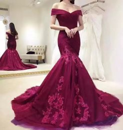 Burgundy Formal Evening Dresses Mermaid Tulle with Lace Appliques Sequins Sweep Train Off The Shoulder Ruffle Prom Gowns Pageant Dress