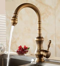 Antique brass kitchen faucet bronze finish,water tap kitchen Swivel Spout Vanity Sink Mixer Tap Single Handle T01004