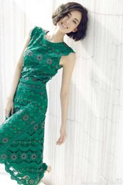 Wholesale Ladies Bohemian Long Dress - 2016 in early spring new Milan Fashion Week star with the ladies green lace long dress Hot Sale
