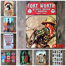 Signes de cow-boy en Ligne-20 * 30cm Rétro Étain Affiche Route 66 Bière Drapeaux Nationaux Peintures de Fer de Cowboy Fort Worth Métal Étain Sign Décoration de Maison Décoration 4rjX