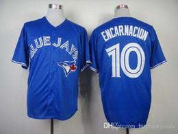Toronto Blue Jays Jerseys #10 Edwin Encarnacion Blue White Grey Red Jerseys Cheap Baseball Jerseys Authentic Stittched Jersey Shirt