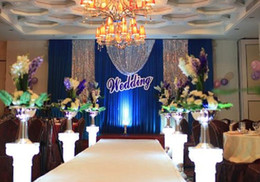 Hot Sale Royal Blue Color Wedding Backdrop Curtain With Silver Sequin Swags
