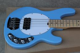 Hombre de raya de música en Línea-Calidad superior Luz azul Music Man StingRay 4 cuerdas Bajo eléctrico con circuito de amplificador de batería 9V -11-1