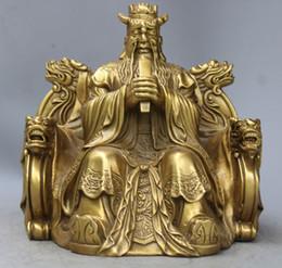 Chinois Mythe en laiton Dragon Roi Longwang Seigneur Pluie Dieu Bouddha Statue sculpture