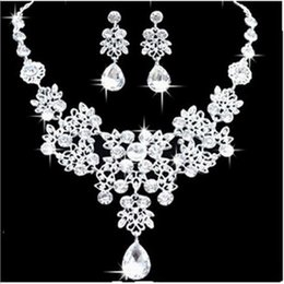 Wholesale Fashion Amazing Shinny Bridal Jewelry Rhinestone Crystal Luxury Necklace Earring Jewelry Set For Wedding Party Evening In Stock
