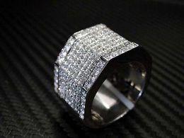 MENS DIAMOND RING 14K WHITE GOLD ROUND CUT PRINCESS CUT
