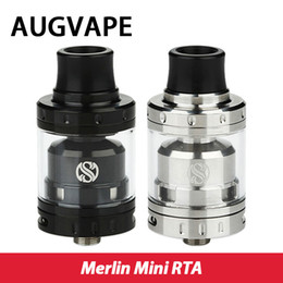 Atomiseurs gros à vendre-Vente en gros AUGVAPE Merlin Mini RTA Atomiseur 2ml Simple / double serpentin Deck Bottom Double flux d'air Merlin Mini Tank Vaping RTA Prix bas