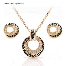 Rose Gold Color Retro Rome Round Design Austrian Rhinestones G Style Jewelry Set Earrings Necklace Wholesale