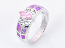 Wholesale & Retail Fashion Jewelry Nice Blue Pink White Fire Opal Stone Silver Plated Ring For Women RAT001