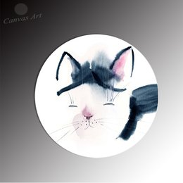 No Framed Round Nordic Canvas Painting Cute Animal Cat Modern Decor Wall Pictures for Kid's Room