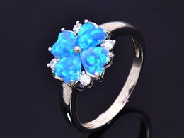 Wholesale & Retail Fashion Fine Blue Fire Opal Ring 925 Silver Plated Jewelry For Women EMT1517004
