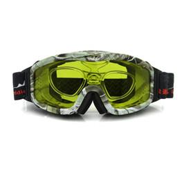 Wholesale Anteojos de esquí de la visión nocturna gafas de sol de Snowboard del día nublado lentes de la caza de la lente amarilla o de Plano antiniebla con el parte movible de RX